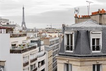 Entirely furnished and equipped apartment for 1 or 2 available for short-term rental w balcony and view of Eiffel Tower, Paris 15th