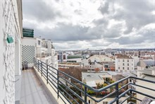 Great view from short term apartment rental with terrace near Pont de Saint Cloud at Boulogne