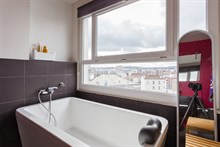 Luxury apartment rental with stunning view near Paris in city of Boulogne, Terrace, Sleeps 2 or 4, metro access