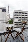 studio apartment rental for 4 with large terrasse and view of Eiffel Tower Bir Hakeim 15th district of Paris