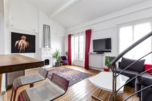 Monthly rental of luxury 2-bedroom duplex apartment near la Cité de la Mode and Design on rue de Tolbiac, Paris 13th