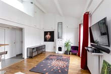 Luxury 2-bedroom duplex apartment rental for weekly or monthly rental on rue de Tolbiac, Paris 13th