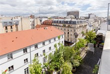 Business stays in furnished duplex apartment rental for monthly rental with terrace sleeps 2 guests at Nation Paris 11th arrondissement