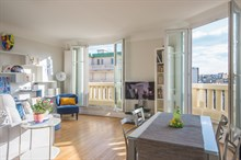"Monthly furnished rental one bedroom for two with terrace facing ""Exelmans Auteil"" Paris sixteenth district"