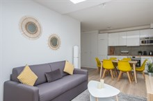 Weekly furnished rental luxury two bedroom with terrace on rue Saint Charles Paris Beaugrenelle fifteenth district