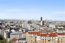 Furnished monthly rental modern one bedroom with panoramic view of Paris in tolbiac place d`Italie Paris thirteenth district / 13th arrondissement