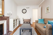 Short-term rental in furnished 3-room apartment located at Avenue de Versailles, Paris 16th