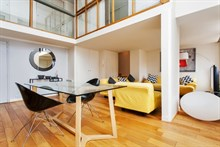 Luxury duplex apartment with 2 floors in modern building with elevator for short terrm rental in Paris 17th