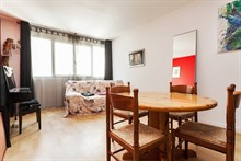 Lodging for 4 in furnished 2-room apartment, short-term availability, rue Admirals, Paris 18th