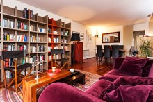 Weekly rental of furnished 3-room apartment for 4 w/ balcony & library, République Paris 10th