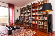 Large 3-room apartment w/ balcony and library available for weekly rental, perfect for romantic couple's getaway, calm area at Republique Paris 10th