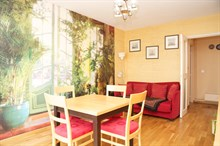 Weekly rental, 4-person furnished apartment with a double bed and fold-out couch near Jourdain metro, Paris 19th