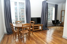 4-6 person 3-room apartment for monthly rent, furnished with bed and fold-out couch, boulevard de Grenelle Paris 15th