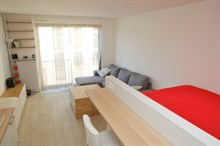 Furnished short-term studio apartment rental for language stays in Paris 15th near Montparnasse Tower