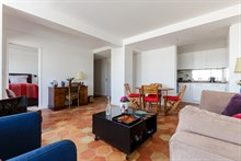 Modern, furnished large apartment in Paris 15th arrondissement with 2 rooms, terrace w/ view of Eiffel Tower