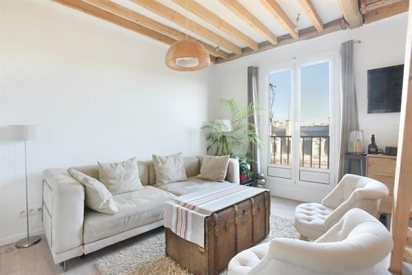 Le caract re superbe appartement f2 en duplex avec for Appartement avec balcon paris